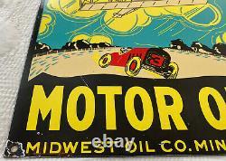 Vintage Ace High Motor Oil Porcelaine Signe Station À Essence Plaque De Pompe Service Lube