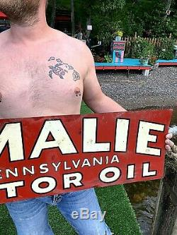 Vintage Amalie Huile Moteur Pancarte De Métal Station Service D'essence 36x12