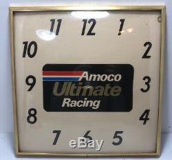 Vintage Amoco Ultimate Racing Adv Horloge / Gaz Huile / Soda / Service Station