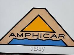 Vintage Amphicar Porcelaine Service Station Auto Gas Concessionnaire Sign Rare Pompe Annonce