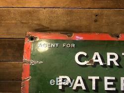 Vintage Antique Carter Paterson Porcelaine Signe De Pompe À Gaz Station Service Truck