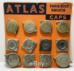 Vintage Atlas Bouchon De Radiateur Affichage Enseigne / Gas Oil Service Station