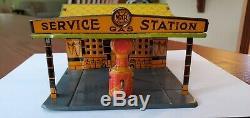 Vintage Avant-guerre Marx Aero Service Station Avec La Boîte! Agréable