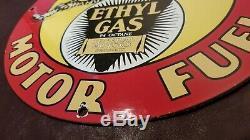 Vintage Bearcat Essence Porcelaine Métal Service Station Ad Gas Pump Plate Sign