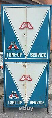 Vintage Big A Station Station-service Industrielle / Gaz Tune-up Pièces Cabinet Métal