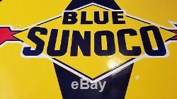 Vintage Bleu Sunoco Essence Service En Porcelaine Station Pompe Plaque Annonce Se Connecter