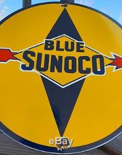 Vintage Bleu Sunoco Porcelaine Signe Gaz Huile Moteur Metal Service Station Essence