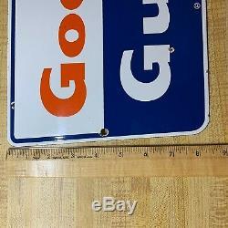 Vintage Bon Golfe Signe Porcelain Gaz Pompe À Huile Connexion Station Service Garage