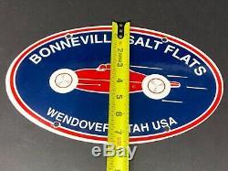 Vintage Bonneville Salt Flats Porcelaine Signe Gaz Pompe À Huile Plaque Station Service