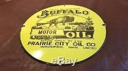 Vintage Buffalo Essence Porcelaine Station Service Huile Moteur De La Pompe Plaque Signe