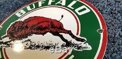 Vintage Buffalo Essence Service En Porcelaine Station Pompe Plaque Annonce Se Connecter