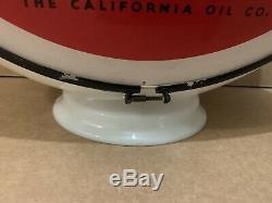 Vintage Calso Pompe Suprême Gaz Service En Verre Globe Lumière Garage Station Gill