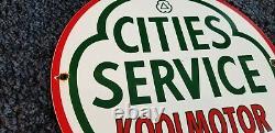 Vintage Cities Service Gasoline Porcelain Gas Koolmotor Station Pump Sign