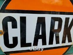 Vintage Clark Essence Porcelaine Connexion Gaz Metal Service Station De Pompage Plate Annonce