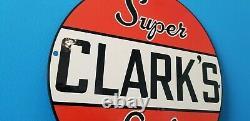 Vintage Clark Gasoline Porcelain Super Service Station Gas Oil Pump Plate Sign