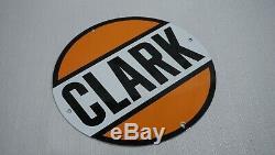 Vintage Clark Porcelain Connexion Gaz Huile Moteur Service Station Essence Métal Rare