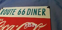 Vintage Coca Cola Porcelaine Route 66 Sign Service Station Beverage Gaz