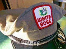 Vintage Collection White Rose Huile Service Station Uniforme Chapeau Patch