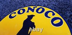 Vintage Conoco Essence Porcelaine Gaz Station D'essence Pompe Plaque D'annonce Signe
