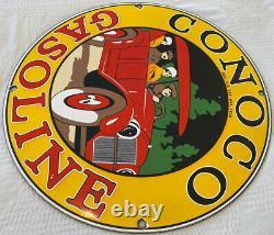Vintage Conoco Essence Porcelaine Signe Station D'essence Plaque De Pompe Service D'huile De Moteur