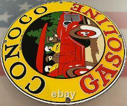 Vintage Conoco Essence Porcelaine Signe Station D'essence Pump Plate Motor Oil Service