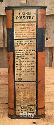 Vintage Cross Country Refrodissement 1 Gal Tin Can Auto Gas & Oil Service Station