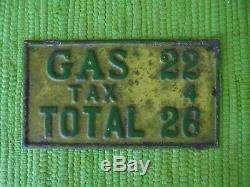 Vintage + De 1920 Gas 1930 Pump Plate Taxe Signe Station Service De Gaz Étiquette De Prix