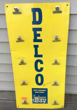 Vintage Delco Service Station Pièces De Batterie Publicité Signe Affichage