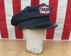 Vintage Des Années 1950 Texaco Service Station Attendant Cap Laine Chapeau Uniforme Essence