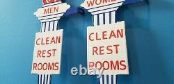 Vintage Deux Étalons Essence Station De Service D'essence De Porcelaine Panneaux De Toilettes De La Torche