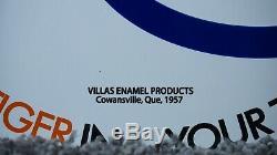 Vintage Esso 1957 Daté Porcelaine Sign Gas Oil Service Station Métal Pompe Goutte