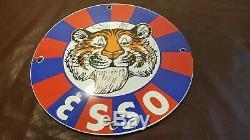 Vintage Esso Essence En Porcelaine Tigre De Métal Ad Service Station Pompe Connexion