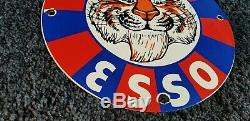 Vintage Esso Essence Porcelain Tiger Auto Service Station Pump Plate Sign