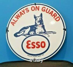 Vintage Esso Essence Porcelaine Gaz Chien De Service Station De Pompage Connexion Plaque