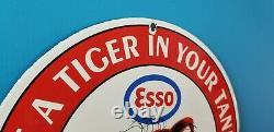 Vintage Esso Essence Porcelaine Gaz Essence Huile Service Station Station Pompe Signe