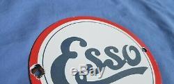 Vintage Esso Essence Porcelaine Gaz Huile Moteur 6 Service Station De Pompage Plate Sign