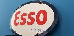 Vintage Esso Essence Porcelaine Gaz Station D'administration Pompe Plaque D'annonce Métal Signe