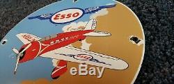 Vintage Esso Essence Porcelaine Old Gas Oil Service Station Avion Pompe Connexion