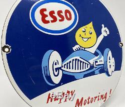 Vintage Esso Essence Porcelaine Signe Gaz Pompe À Huile Plaque D'huile Service Station