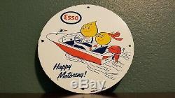 Vintage Esso Essence Porcelaine Station Service Huile Moteur De La Pompe Plaque Signe