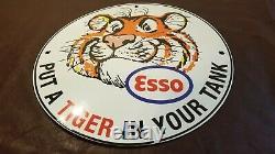 Vintage Esso Essence Porcelaine Tiger Station-service Du Réservoir De Pompe À Gaz Plaque Signe