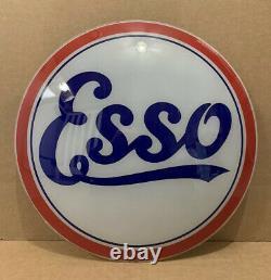 Vintage Esso Gas Pump Globe Light Glass Lens Service Station Garage Oil Sign
