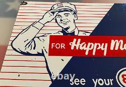Vintage Esso Gasoline Porcelain Sign Gas Station Pump Plate Motor Oil Service