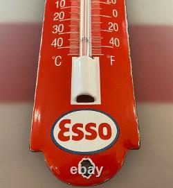 Vintage Esso Motor Oil Porcelain Thermometer Service Station Station Station Plaque De Pompe À Essence