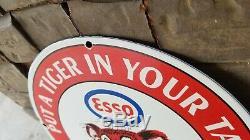 Vintage Esso Service Station Essence Huile En Porcelaine De Pompe À Gaz Automatique Plaque Signe