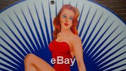 Vintage Ethyl Essence Porcelaine Signe Gaz Huile Service Station De Pompage Plate Rare