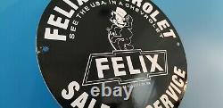 Vintage Felix Cat Chevrolet Porcelaine Bow-tie Gas Trucks Station D'accueil Signe