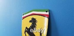Vintage Ferrari Porcelaine Gaz Automobile Badge Shield Service Station Panneau De Porte