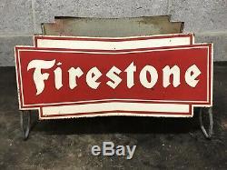 Vintage Firestone Bowtie Tire Display Holder Service Station Oil Gas Support Connexion