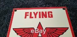 Vintage Flying A Essence Porcelaine Signe Gaz Métal Station Service Pump Plate Annonce
